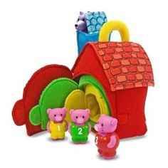 Melissa & Doug Deluxe Three Little Pigs Play Set Soft Baby Toy - tell the story over and over with these story props.