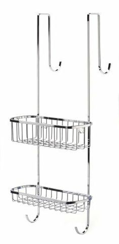 "Chrome Over The Door Shower Caddy by Homestorage Warehouse. $27.40. Chrome finish. Easily hangs over shower doors up to 2.25"" thick. Polished stainless steel construction. Two storage baskets. Size is 21""H x 8.75""W x 7.25""D. This efficient stainless steel and rust resistant Over The Door Shower Caddy features 2 baskets that are great for storage of shampoos, soaps, and shower gels. The shower organizer also includes 2 hang hooks that work well for holding brushes, wash clot..."