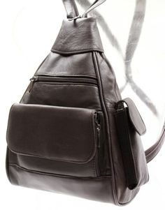 BROWN DK LEATHER BACKPACK ORGANIZER CELL PHONE POCKET CC SLOTS ID WINDOW