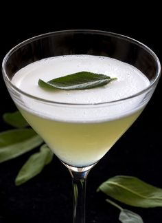 Gin Sage Martini  1 shot gin (I used Azzurre) ½ shot sage simple syrup ½ small lemon, juiced (only need about ¼ shot) 1 egg white For the Sage Simple Syrup ½ C. sugar ½ C. water 6 sage leaves