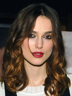 keira knightley smokey eyes red lips ombré hair