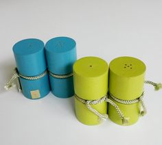 Vintage 1960s Holt Howard Bamboo Chartreuse Teal Blue Salt Pepper Shakers 2 Sets