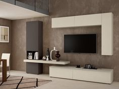 17 Outstanding ideas for TV shelves to create attractive .- 17 Hervorragende Ideen für TV-Regale zur Gestaltung attraktiver Wohnräume – Dekorationen gram 17 Outstanding ideas for TV shelves to create attractive living spaces room up - Tv Shelf Design, Tv Wall Design, House Design, Living Room Interior, Home Living Room, Living Spaces, Tv Regal, Tv Wanddekor, Living Room Tv Unit Designs