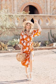 Arizona fashion blogger Dash of Darling shares a summer outfit in an orange rust Rue Stiic kimono wrap dress and Preston and Olivia hat.