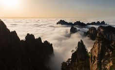 Wave of Cloud Sea - Late Afternoon on Huangshan (Yellow) Mountain