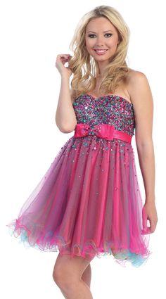 8th+grade+graduation+dresses | ... Bodice with Overlay Short Prom Dress - Short / Mini Prom Dresses