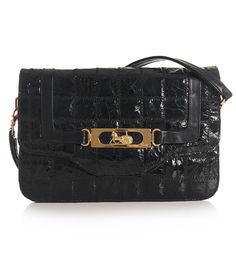 Sophisticated vintage Celine moc croc shoulder bag. Original gold Celine horse & carriage lock.