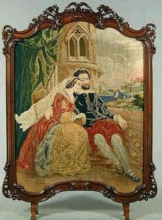 I call this one Married Love, its a 19th needlepoint firescreen.