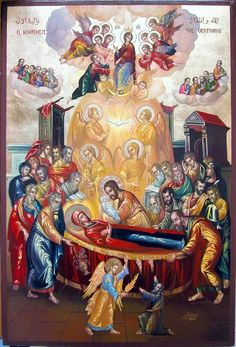 The Dormition of our Lady, Virgin Mary Byzantine Icons, Byzantine Art, Catholic Art, Religious Art, Church Icon, Mary And Jesus, Holy Mary, Blessed Virgin Mary, Orthodox Icons