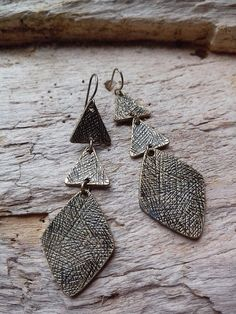 off SALE/ Large Dark Gold Three Triangle Diamond Drop Earrings Hanging Geometric /Tribal Dangle Gypsy Bohemian minimal Festival Urban Beach Jewelry, Unique Jewelry, 50 Off Sale, Diamond Drop Earrings, Bohemian Gypsy, Triangle, Dangles, Minimal, Urban
