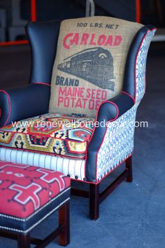 This amazing custom wingback was custom designed for Isabel and feature a vintage train grain sack, bold ikat seat cushion, Ralph Lauren home