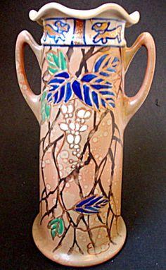 Handled Porcelain Vase, Enameled