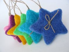 Six Color Fluffy Christmas Stars -Needle Felted - Christmas Decoration. .