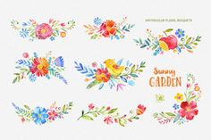 Sunny Garden. Floral Bundle by StarJam on Creative Market