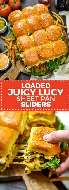 Loaded Juicy Lucy Sheet Pan Sliders – Host The Toast – Gesundes Abendessen, Vegetarische Rezepte, Vegane Desserts, Slider Recipes, Burger Recipes, Appetizer Recipes, Beef Recipes, Cooking Recipes, Meat Appetizers, Cooking Bacon, Sausage Recipes, Kitchen Recipes