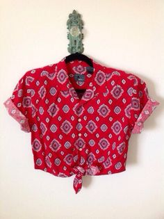 Vintage Red Bandana Handkerchief Print Half Sleeve Crop Tie Blouse S on Etsy, $13.25