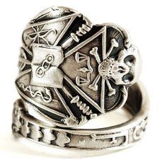 IOOF Ring, Odd Fellows, Sterling Silver Spoon Ring, Skull and Crossbones Skull and Bones Mens Masonic Ring Skull Ring, Adjustable Ring, 1081