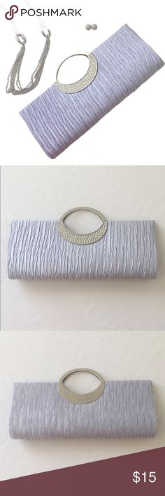 Silver Ruched Clutch with Strap! Beautiful ruched evening clutch! It is in perfect condition and would work for many events and occasions! Perfect for weddings, parties, holidays, or special get togethers. It features a ruched silver fabric design with a silver metal handle and faux diamond on the handle. It has a metal clasp closure and inside is a long metal strap that can be removed or tucked away inside! Large enough to hold your phone, credit cards and lipstick or so! Feel free to…