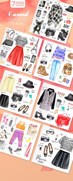 100 watercolor fashion elements by SoNice on @creativemarket                                                                                                                                                                                 More