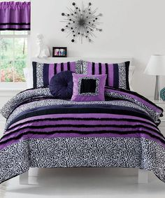 Love this Purple Ruffle Dream Comforter & Window Valance Set by Pem America on #zulily! #zulilyfinds