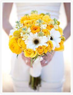 white daisy marigold wedding bouquet - Google Search