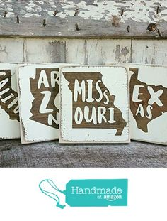 Mini Rustic Wood Signs - Whitewash State Signs - Home State Decor - Personalized State Sign from Three Arrows Collective https://www.amazon.com/dp/B01IA6VB1W/ref=hnd_sw_r_pi_dp_lvgTxbJZNB89W #handmadeatamazon