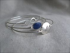 Sterling Silver Blue Infinity Bangle Set by MonarchDJewelry, $70.00