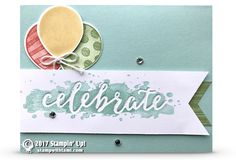 """CARD On today's live online class we will be doing a cool and easy """"debossing"""" technique. Featuring the Stampin Up Celebrations Duo folder, and Balloon Adventures stamp set. Download the free pdf below for measurements and supplies. Designed by Kim Peck. Balloon"""