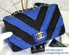 Chanel Canvas Chevron Patchwork Classic Flap Bag A93717 Blue 2017