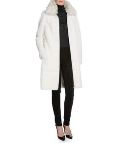 TOM FORD Mink Fur Long Coat W/Removable Collar, White $19,500.00, white removable dyed lamb shearling collar