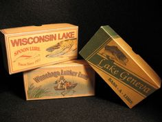 Wisconsin Lake, Lake Geneva and Lake Winnebago Fishing Lure Boxes Decor - Personalized Rustic Fishing Lure Boxes Lake House Cabin Decorations