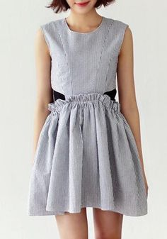 Multicolor Plaid Pleated Zipper Sleeveless Cotton Blend Dress