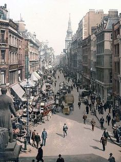 artistic picture of Cheapside, London, England.  This color photochrome print was created between 1890 and 1900 in London, England.