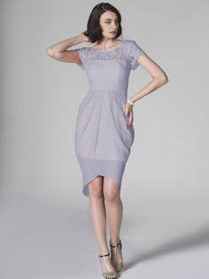 bridesmade dress idea. colour idea light to dark | Lace Short Sleeve Chiffon Dress £90.53