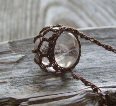 Crystal Ball Pendant . Crystal Quartz . by TheTreeFolkHollow, $25.00