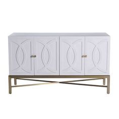 Allan Copley Designs The Iris Buffet Table is the epitome of timeless elegance with a brushed champagne stainless steel base complimenting inset door panels of chalk white on ash. Home Furniture Online, Cheap Furniture, Dining Furniture, Furniture Stores, Furniture Movers, White Furniture, Metal Furniture, Discount Furniture, Luxury Furniture