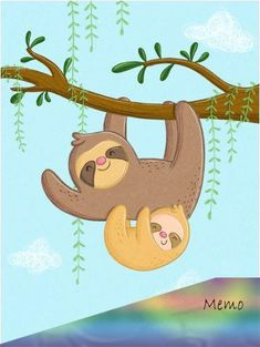 Sandy Thißen - Sloths on the branch, Poster canvas wall stickers with sloths for the children's room at Posterlounge. Cute Baby Sloths, Cute Sloth, Happy Animals, Cute Animals, Sloth Sleeping, Crochet Sloth, Crochet Cat Pattern, Poster Design, Cute Little Baby