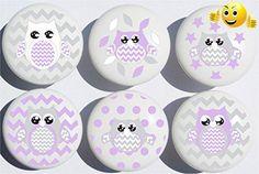 #decor These #Purple Owl Ceramic #Drawer Knobs add a perfect designer touch for Children's dresser drawer pulls, cabinet drawer pulls, furniture knobs, nursery ch...