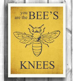 Bee Art Typographic poster Quote art by HappyLetterShop on Etsy