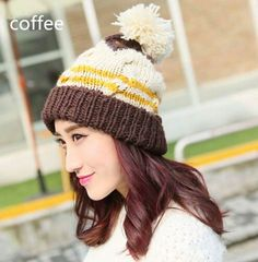 Fashion hairball knit hat for women hit color beanie winter hats
