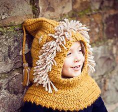 Crochet PATTERN pdf file  Lion Hooded Cowl baby par monpetitviolon