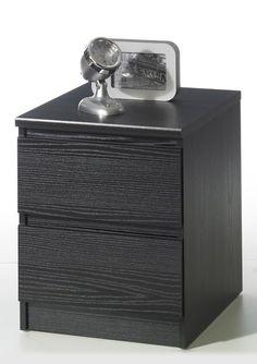 Naia+Sengebord+-+Sort+-+Flot+sengebord+i+sort+ask+med+2+rummelige+skuffer.+Sengebordet+har+afrundede+skuffekanter,+hvilket+giver+møblet+et+moderne+og+enkelt+udtryk.+Anvend+dette+fine+sengebord+i+soveværelset+eller+som+lampebord+i+stuen+-+mulighederne+er+mange.+ Sorting, Flask, Nightstand, Barware, Furniture, Home Decor, Products, Modern, Decoration Home