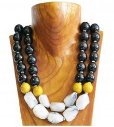 Black, yellow and grey 2 string gemstone necklace