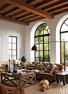 OK - this is how I propose we can work with the brown sofa! Mirrors that look like these windows exist (I have one in my backyard) - we can get square as well to mimic your windows!! I think chairs with lighter fabric and colorful throw pillows!!