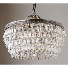 Pottery Barn Clarissa Crystal Drop Round Chandelier ($999) ❤ liked on Polyvore featuring home, lighting, ceiling lights, pottery barn chandelier, teardrop chandelier, hanging chain lamp, round lamp and round hanging lights