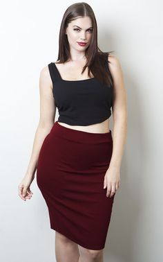 "Skirt Details:  95% Polyester 5% Stretch- Knee Length: 28"" - High Waist Band -Body Conscious -Textured"