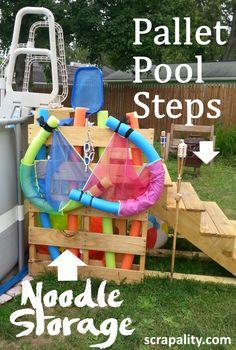 pallet pool steps and noodle storage pin me Above Ground Pool Stairs, Above Ground Pool Landscaping, Above Ground Swimming Pools, In Ground Pools, Pallet Pool, Pallet Decking, Pool Deck Plans, Cheap Pool, Pool Storage