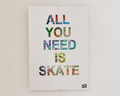 Skateboarder Art Print, Skate Art, Kids Skater Art, Skateboard Decor, Beach Decor, Playroom Wall Art, Modern Teen Art, Kids Wall Art