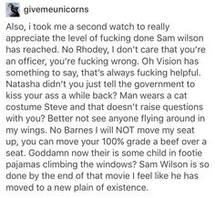 Sam Wilson is so done by the end of Civil War that he has moved to another plane of existence, one where there is not one single fuck to be given.
