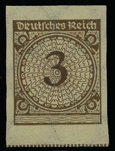 "German Empire, 1923/32 Weimar Republic, Michel 338a U. 3 Pf. postal stamp 1923, colour ""a"", unperforated stamp in unhinged mint superb condition, signed. Michel 400, ?"